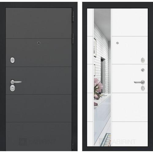 Входная дверь ART графит с Зеркалом 19 - Белый софт