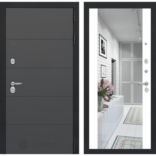 Входная дверь ART графит с Зеркалом Максимум - Белый софт
