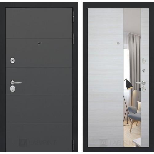 Входная дверь ART графит с Зеркалом - Акация светлая горизонтальная