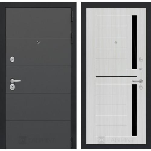 Входная дверь ART графит 02 - Сандал белый, стекло черное