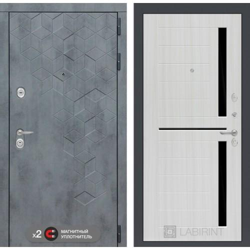 Входная дверь Бетон 02 - Сандал белый, стекло черное