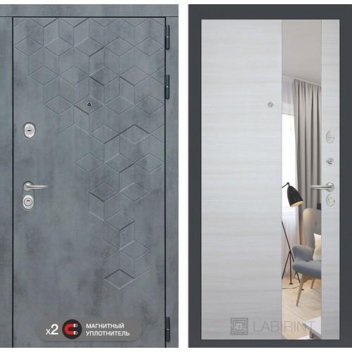 Входная дверь Бетон с узким зеркалом - Акация светлая горизонтальная