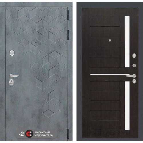 Входная дверь Бетон 02 - Венге, стекло белое