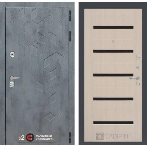 Входная дверь Бетон 01 - Беленый дуб, стекло черное