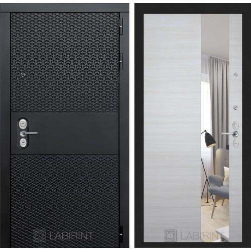 Входная дверь BLACK зеркало - Акация светлая горизонтальная