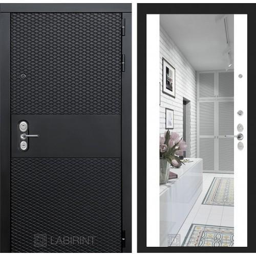Входная дверь BLACK с зеркалом Максимум - Белый софт