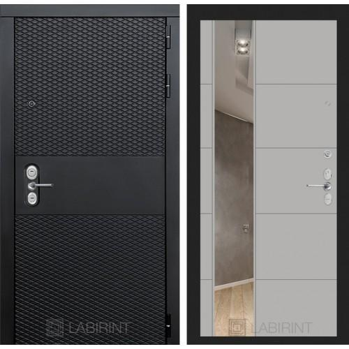 Входная дверь BLACK с зеркалом 19 - Грей софт