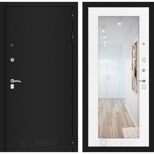 Входная дверь CLASSIC шагрень черная с Зеркалом 18 - Белое дерево