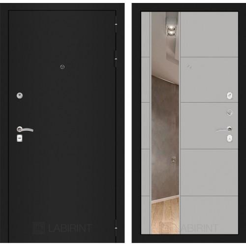 Входная дверь CLASSIC шагрень черная с Зеркалом 19 - Грей софт
