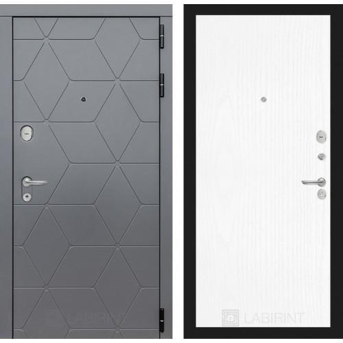 Входная дверь CLASSIC антик медный с Зеркалом 18 - Белое дерево