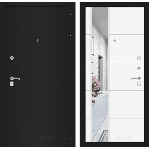 Входная дверь CLASSIC шагрень черная с Зеркалом 19 - Белый софт