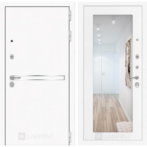 Входная дверь Лайн WHITE с Зеркалом 18 - Белое дерево