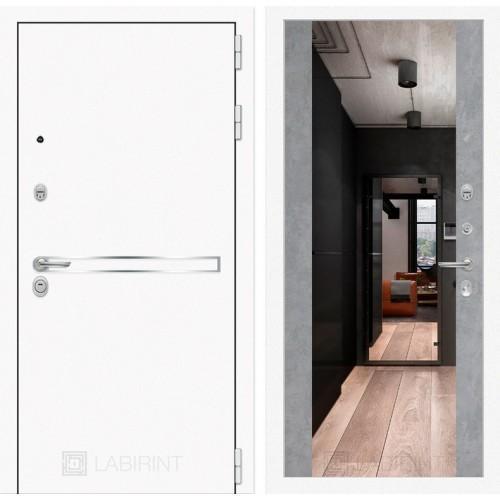 Входная дверь Лайн WHITE с широким зеркалом - Бетон светлый