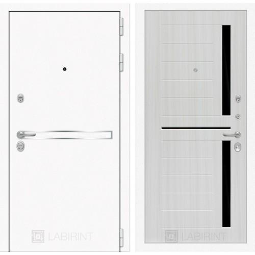Входная дверь Лайн WHITE 02 - Сандал белый, стекло черное