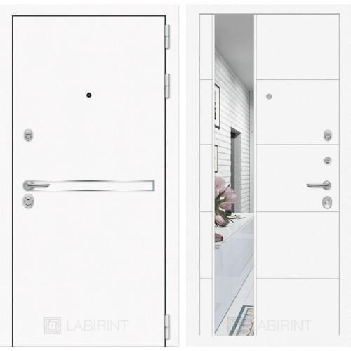 Входная дверь Лайн WHITE с Зеркалом 19 - Белый софт
