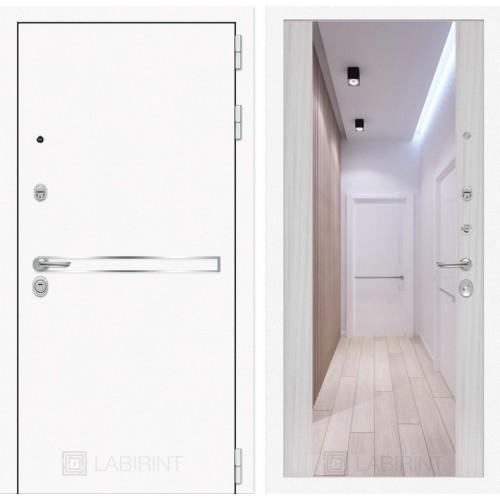 Входная дверь Лайн WHITE с широким зеркалом - Сандал белый