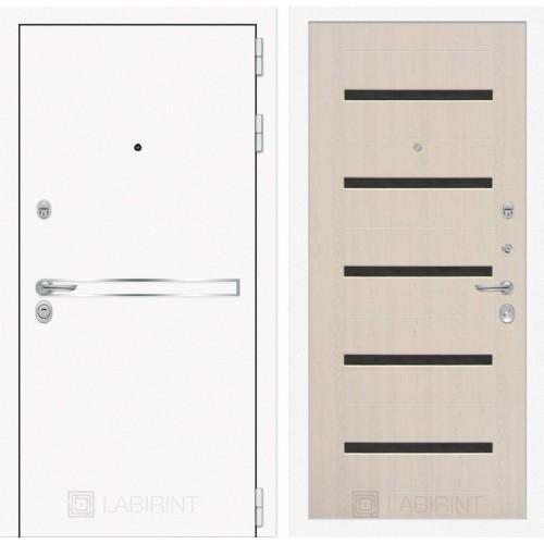 Входная дверь Лайн WHITE 01 - Беленый дуб, стекло черное