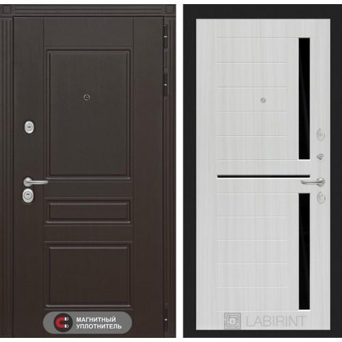 Входная дверь Мегаполис 02 - Сандал белый, стекло черное