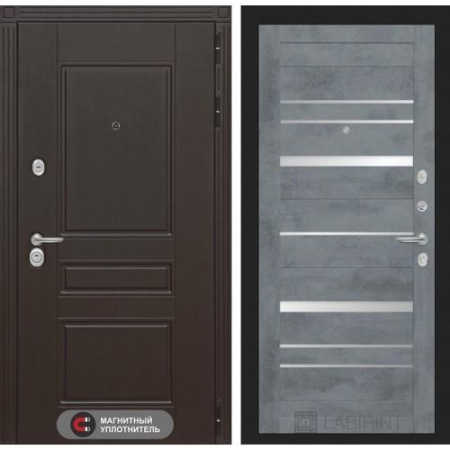 Входная дверь Мегаполис 20 - Бетон темный, зеркальные вставки