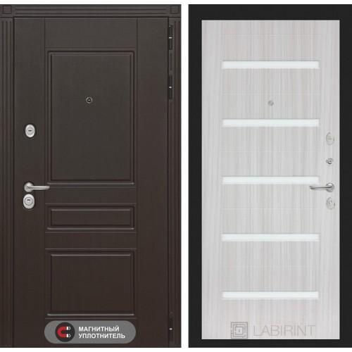 Входная дверь Мегаполис 01 - Сандал белый, стекло белое