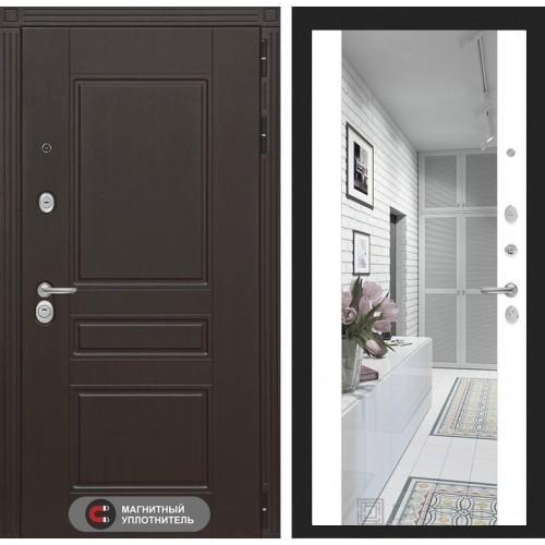 Входная дверь Мегаполис с зеркалом Максимум - Белый софт