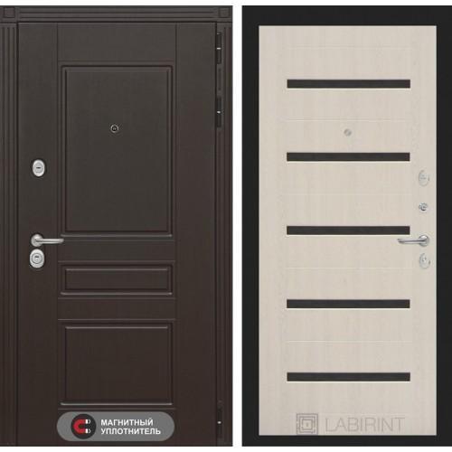 Входная дверь Мегаполис 01 - Беленый дуб, стекло черное