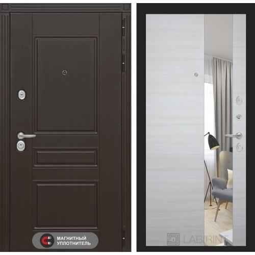 Входная дверь Мегаполис с Зеркалом - Акация светлая горизонтальная