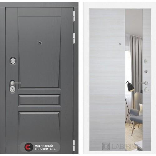 Входная дверь Платинум с Зеркалом - Акация светлая горизонтальная