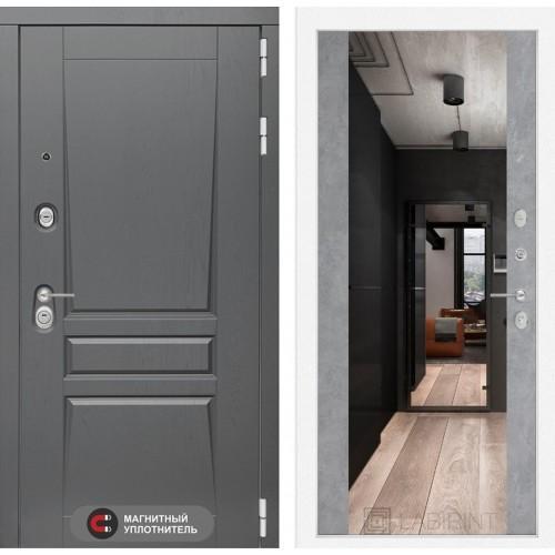 Входная дверь Платинум с Зеркалом Максимум - Бетон светлый