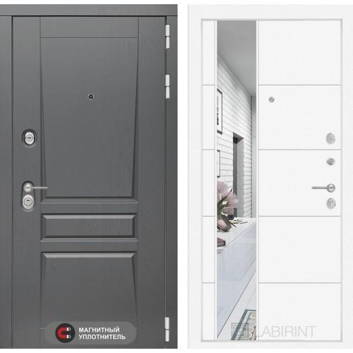 Входная дверь Платинум с Зеркалом 19 - Белый софт