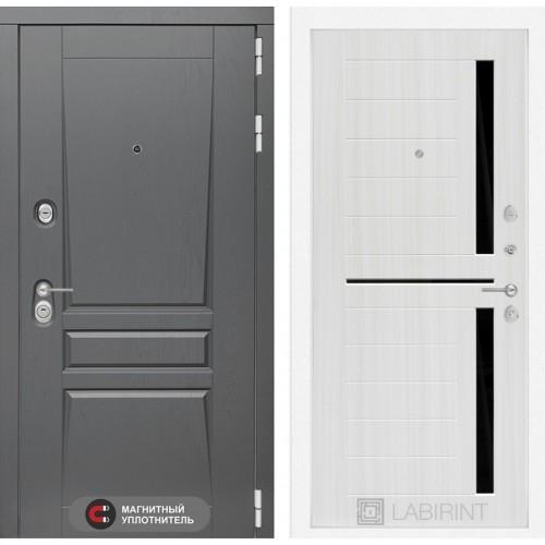 Входная дверь Платинум 02 - Сандал белый, стекло черное