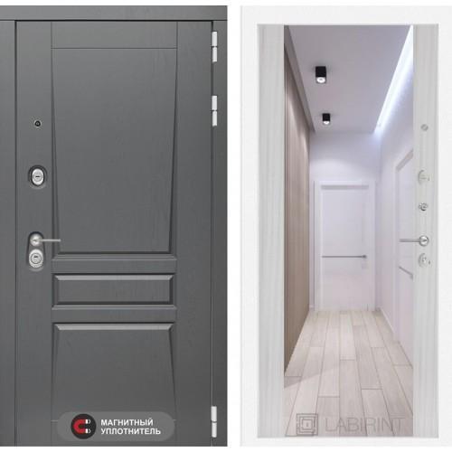 Входная дверь Платинум с Зеркалом Максимум - Сандал белый