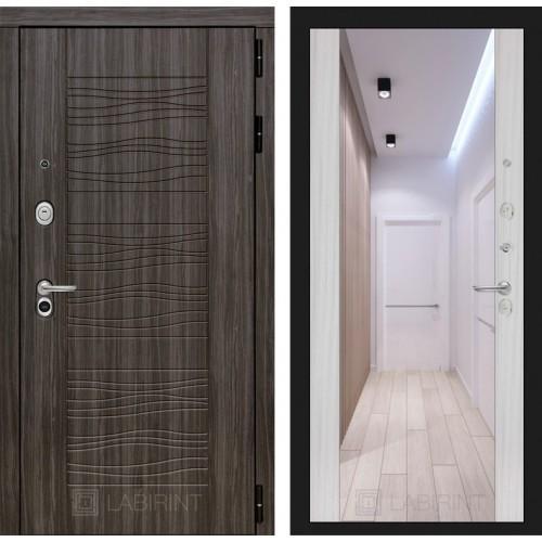 Входная дверь SCANDI Дарк грей с Зеркалом Максимум - Сандал белый