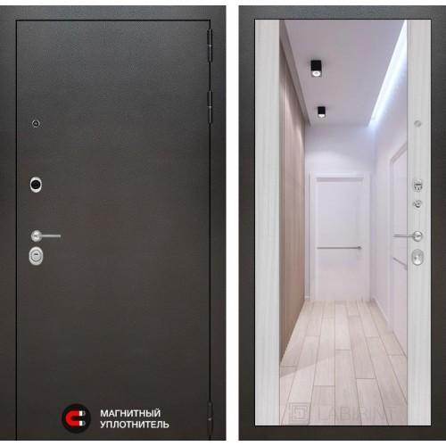 Входная дверь SILVER с Зеркалом Максимум - Сандал белый
