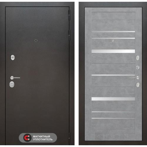 Входная дверь SILVER 20 - Бетон темный, зеркальные вставки