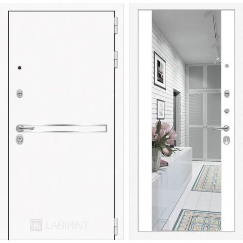 Входная дверь SILVER с Зеркалом - Акация светлая горизонтальная