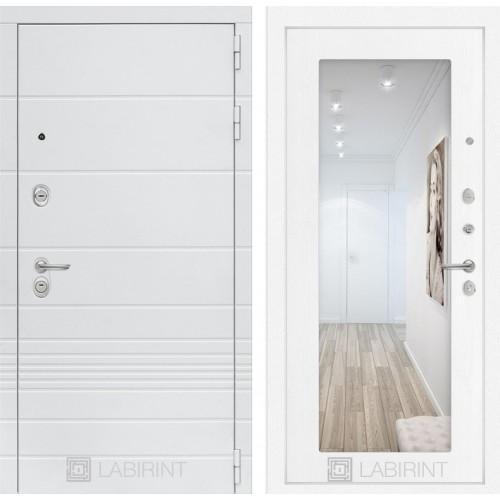 Входная дверь Трендо с Зеркалом 18 - Белое дерево