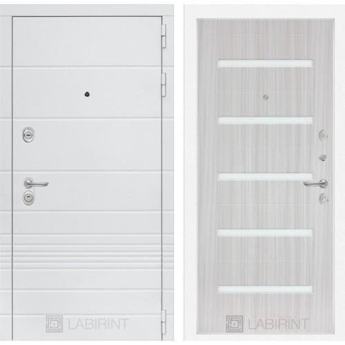 Входная дверь Трендо 01 - Сандал белый, стекло белое