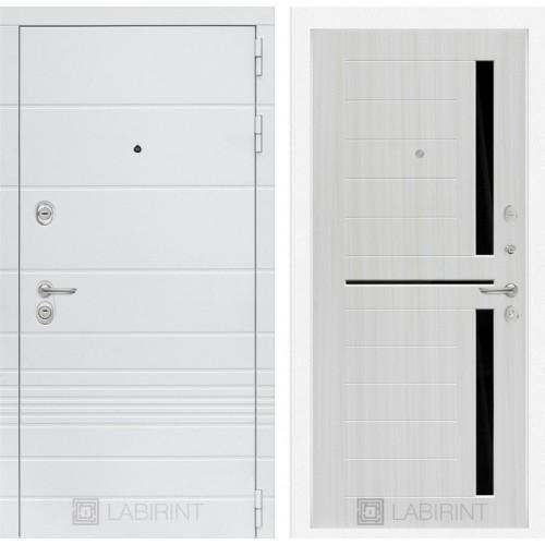 Входная дверь Трендо 02 - Сандал белый, стекло черное
