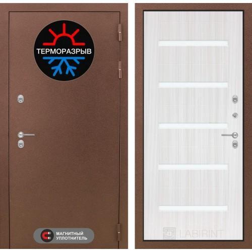 Входная дверь Термо Магнит 01 - Сандал белый, стекло белое
