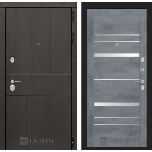 Входная дверь URBAN 20 - Бетон темный, зеркальные вставки