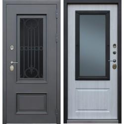 Дверь «Аляска с окном и лазерной резкой» с терморазрывом