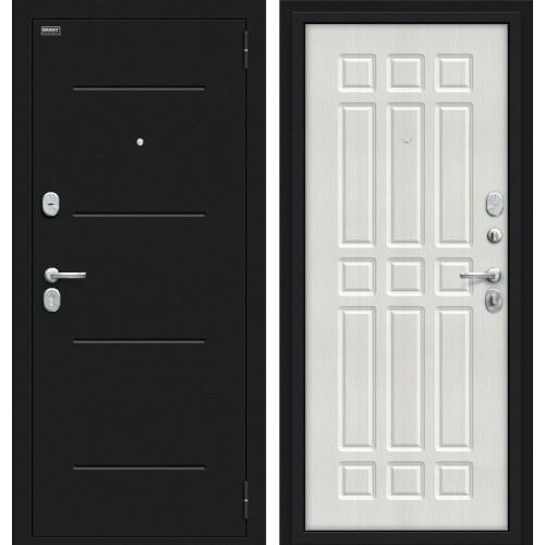 Входная дверь - Мило 104.52 Букле черное/Bianco Veralinga