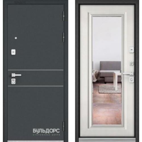 Входная дверь - PREMIUM 90 Черный шелк D14 /Ларче бьянко - зеркало 9Р-140