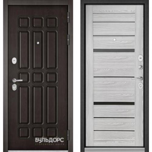 Входная дверь - Бульдорс STANDART - 90 (РР Дуб шоколад 9S-111/ Ясень ривьера Айс - царга CR-1 Matelac Silver Grey)