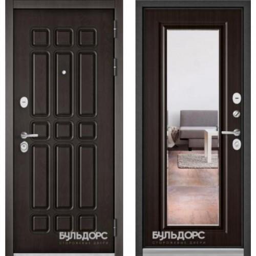 Входная дверь - Бульдорс STANDART 90 (PPДуб Шоколад 9S-111/Ларче шоколад зеркало 9S-140 )