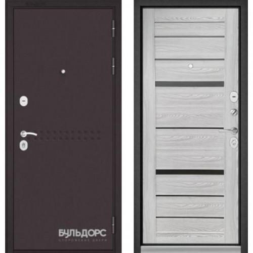 Входная дверь - MASS-90 (МР Букле шоколад R-4 / Ясень ривьера Айс - царга CR-1 Matelac Silver Grey)
