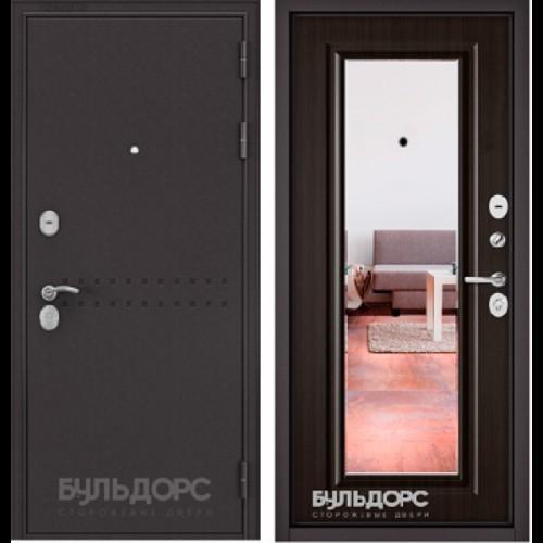 Входная дверь - MASS-90 -(МР Букле шоколад R-4 /Ларче шоколад -зеркало 9S-140)