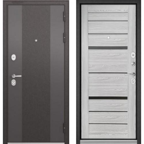 Входная дверь - STANDART 90 (МР Черный шелк 9К-4/Ясень ривьера Айс CR-1,стекло- Matelac Silver Grey)