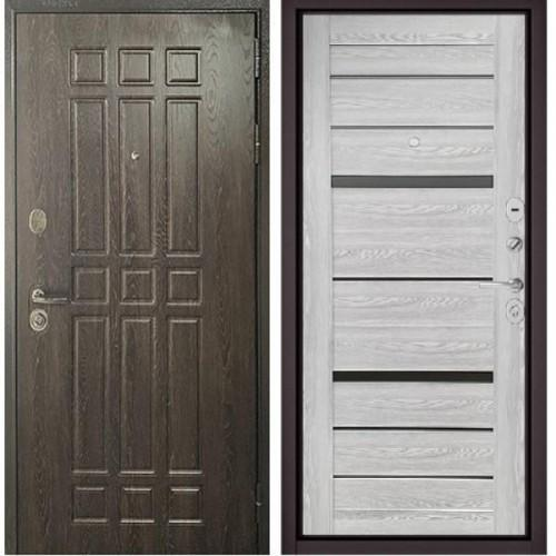 Входная дверь - STANDART - 90 (РР Дуб шоколад 9S-111/ Ясень ривьера Айс - царга CR-1 Matelac Silver Grey)